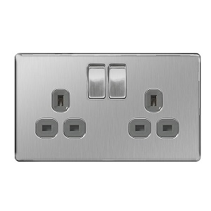 BG FBS22G Switched Socket 2Gang DP 13A