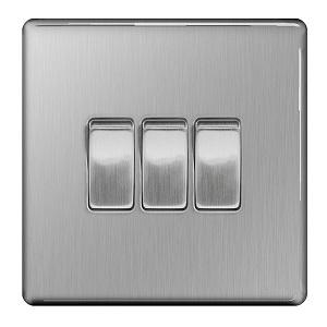 BG FBS43 Plate Switch 3 Gang 2 Way 10A
