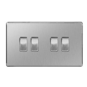 BG FBS44 Plate Switch 4 Gang 2 Way 10A
