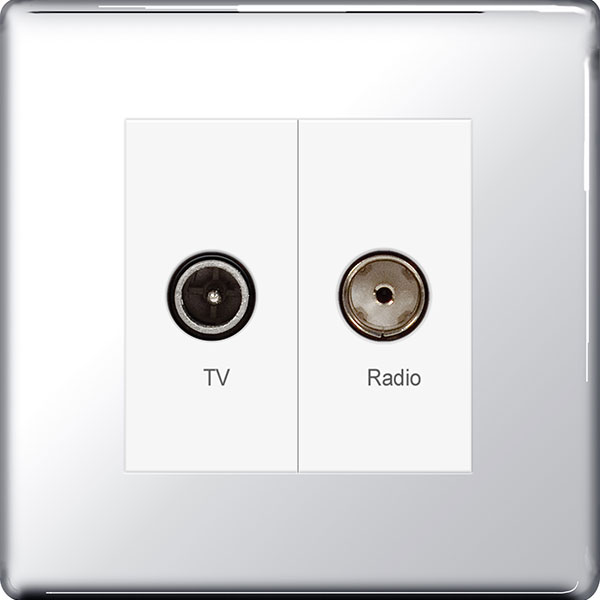 BG FPC66 Diplex Socket TV/FM 2 Gang