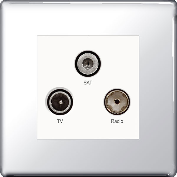 BG FPC67 Triplex Socket TV/FM/Sat 3 Gang