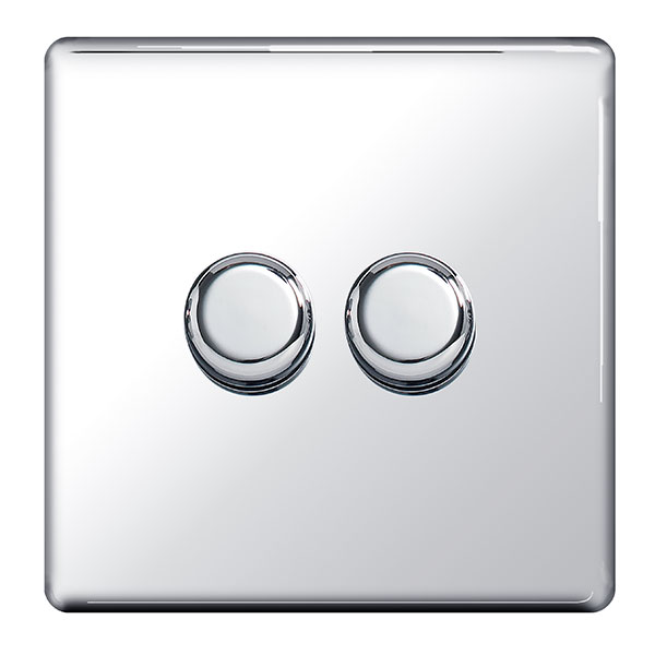 BG FPC82P Push Dimmer Switch 2 Gang 400W