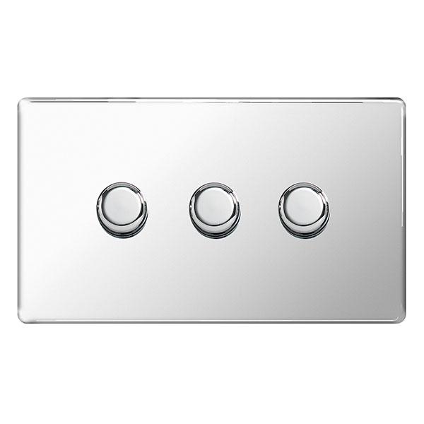 BG FPC83P Push Dimmer Switch 3 Gang 400W