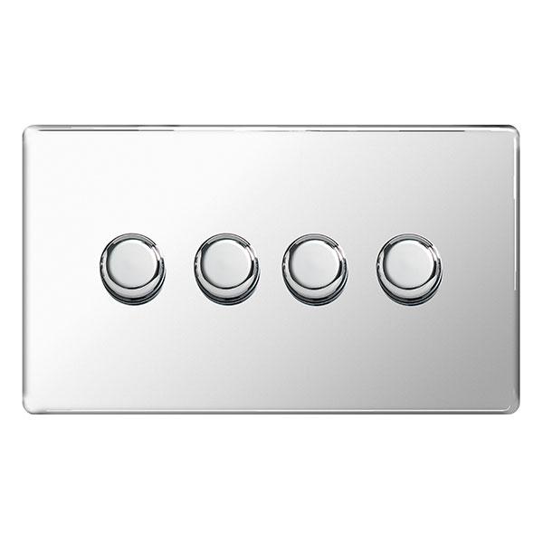 BG FPC84P Push Dimmer Switch 4 Gang 400W