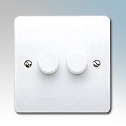 MK K1533WHI Dimmer Switch 2 Gang 3x250W