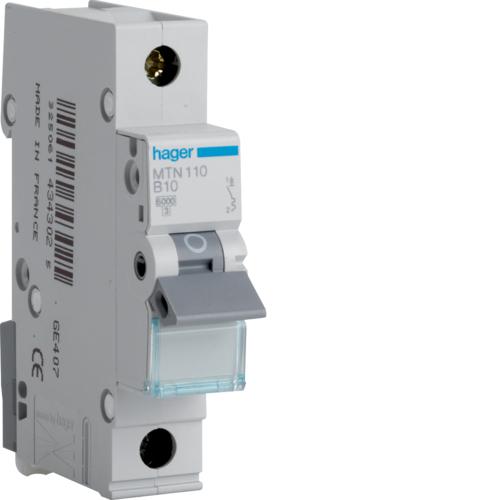 Hager MTN110 MCB SP Type B 10A 6kA
