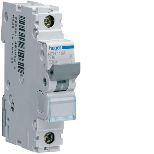 Hager NBN106A MCB SP Type B 6A 10kA