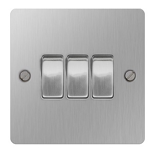 BG SBS43 Plate Switch 3 Gang 2 Way 10A