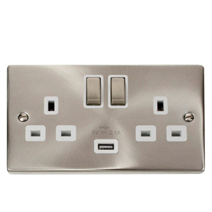 Click VPSC570WH Socket 2G Swd   USB 13A