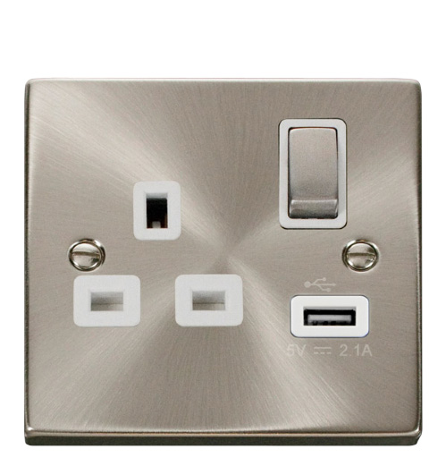 Click VPSC571WH Socket 1G Swd   USB 13A